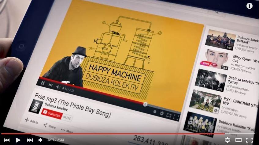 """Песната """"Free.mp3"""" на Дубиоза Колектив на насловната страница на """"The Pirate Bay"""""""