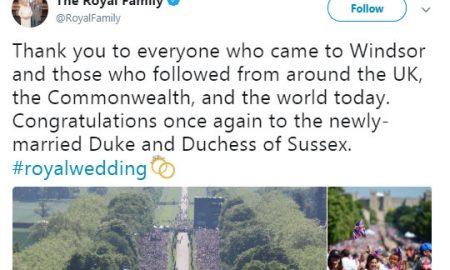 Кралското семејство им се заблагодари на сите за венчавката